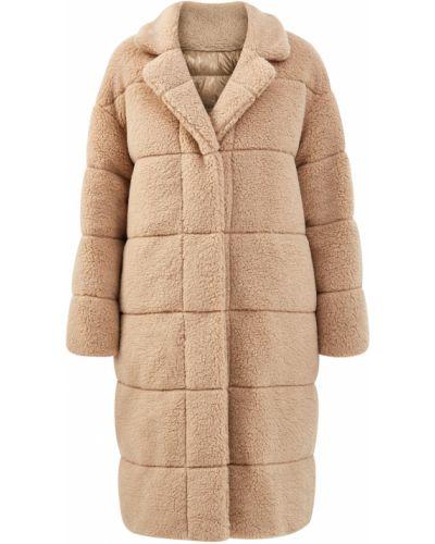 Бежевое пальто оверсайз с воротником на кнопках Moncler