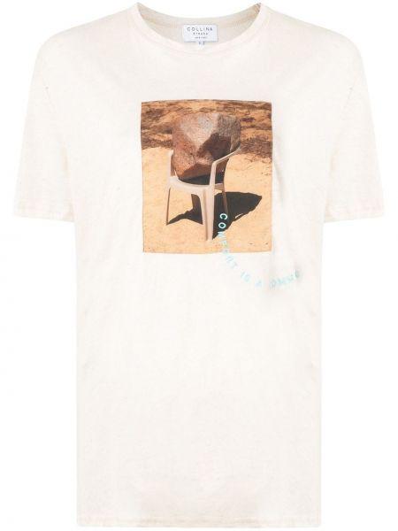 Koszula z krótkim rękawem biała z nadrukiem Collina Strada