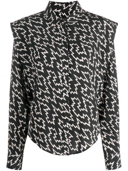 Шелковая черная классическая рубашка с воротником Isabel Marant