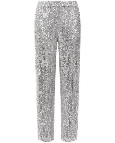 Прямые серебряные брюки с подкладкой с пайетками St. John
