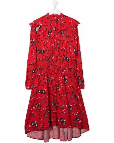 Красное платье с рукавами с оборками на пуговицах эластичное Zadig & Voltaire Kids