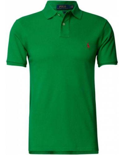 Zielona polo bawełniana prążkowana Polo Ralph Lauren