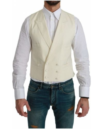 Biała kamizelka zapinane na guziki Dolce And Gabbana