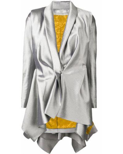 Серебряный приталенный пиджак Poiret