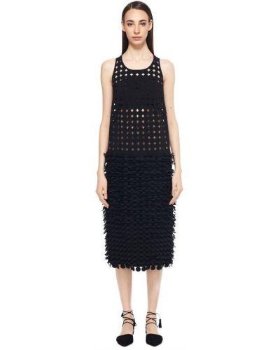 Платье с перфорацией - черное Paskal