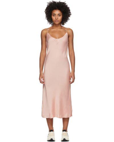 Сатиновое розовое платье с воротником без рукавов Skin