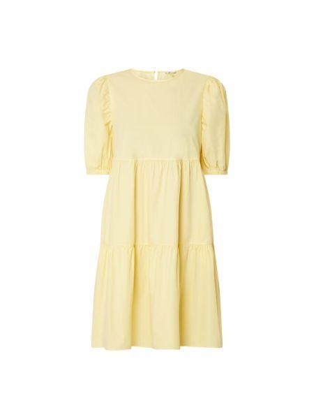 Żółta sukienka mini rozkloszowana z falbanami Edc By Esprit