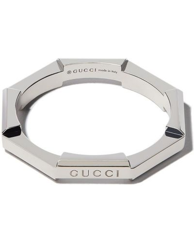 Biały pierścionek srebrny Gucci