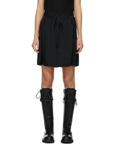Ze sznurkiem do ściągania czarny spódnica mini z wiskozy Ann Demeulemeester
