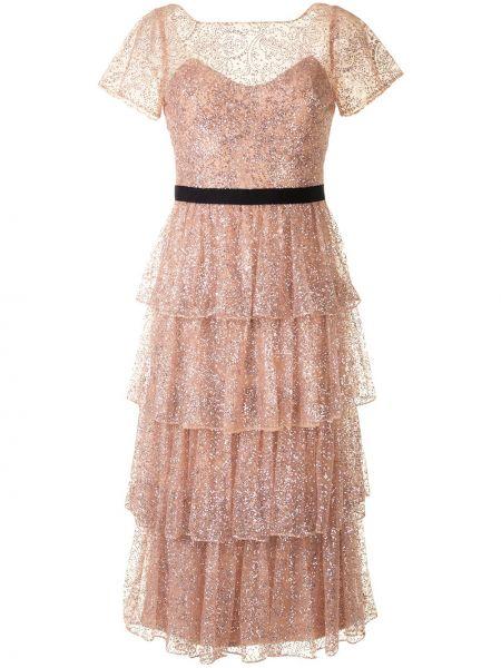 Нейлоновое бежевое коктейльное платье с короткими рукавами с круглым вырезом Marchesa Notte