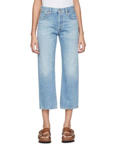 Prosto włókienniczy niebieski jeansy do kostek rozciągać Citizens Of Humanity