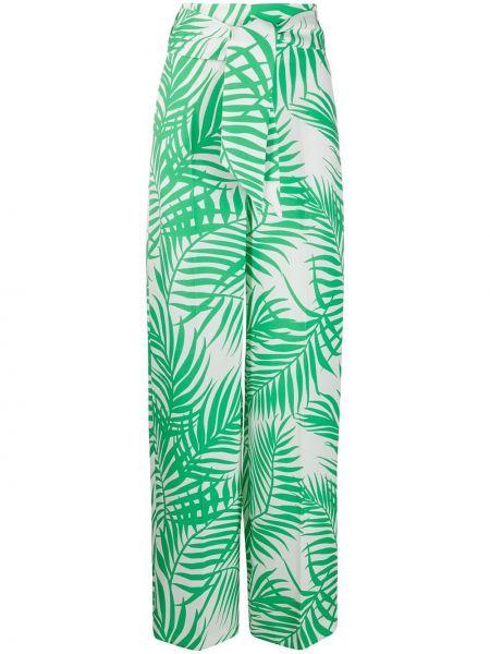 Зеленые брюки со складками с завязками с манжетами Sara Battaglia