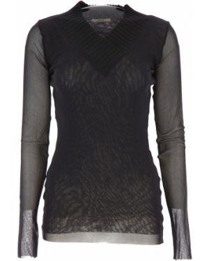 Czarny sweter z dekoltem w serek z długimi rękawami Fuzzi