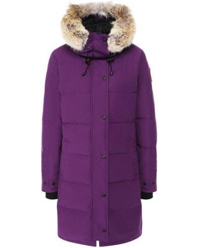 Куртка с капюшоном с мехом с перьями Canada Goose