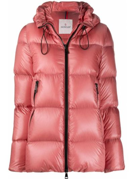 Пуховая розовая куртка с капюшоном двусторонняя с гусиным пухом Moncler