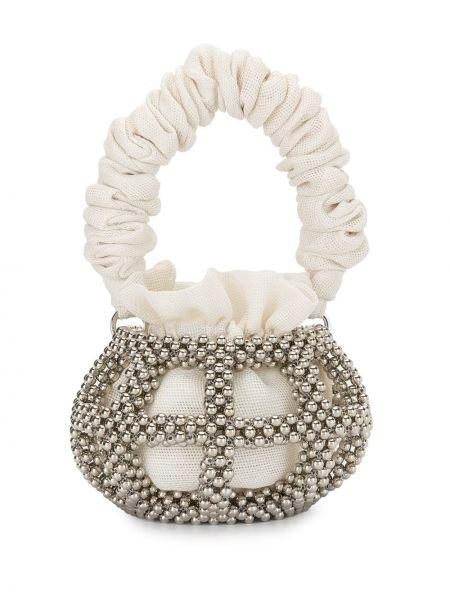Серебряная большая сумка на шнурках 0711