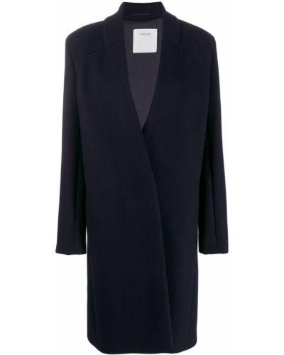 Однобортное синее шерстяное пальто классическое Sportmax