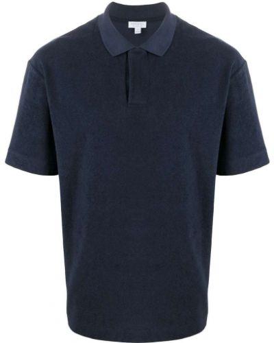Махровая темно-синяя прямая рубашка с короткими рукавами на пуговицах Sunspel
