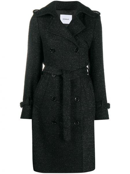 Черное шерстяное длинное пальто с воротником двубортное Dondup