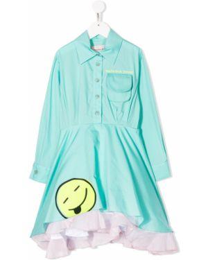 Классическое зеленое платье на пуговицах с декоративной отделкой Natasha Zinko Kids