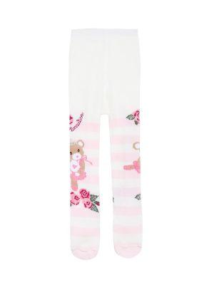 Ciepłe różowe rajstopy bawełniane Monnalisa