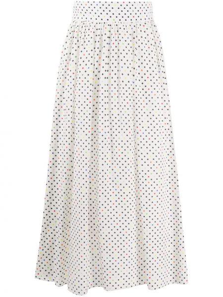 Белая с завышенной талией юбка миди в рубчик на молнии Christopher Kane