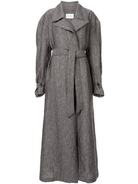 Серое свободное пальто свободного кроя из вискозы Strateas Carlucci