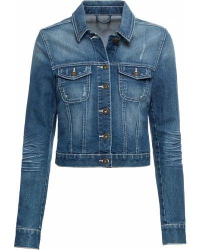 Джинсовая куртка со вставками синий Bonprix