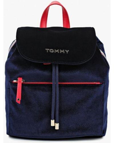 Рюкзак бархатный синий Tommy Hilfiger