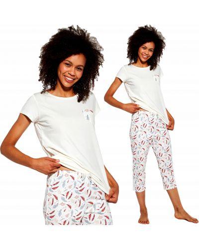 Brązowa piżama bawełniana z długimi rękawami Cornette