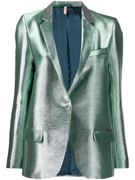 Длинная куртка серебряная на пуговицах Indress