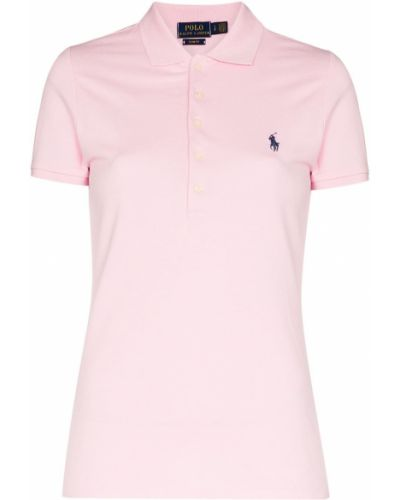Розовая классическая рубашка с вышивкой с воротником свободного кроя Polo Ralph Lauren