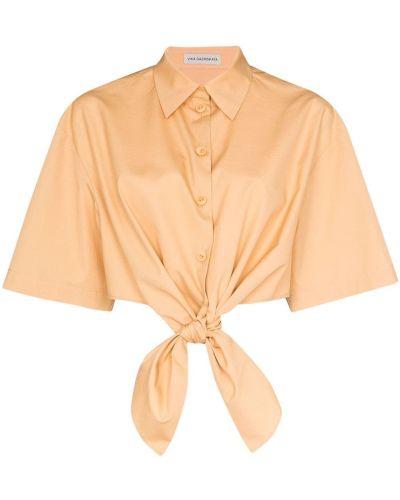 Хлопковая коричневая рубашка на пуговицах Vika Gazinskaya