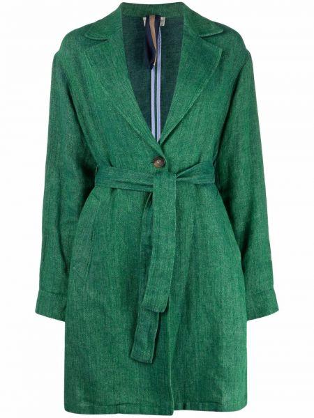 Зеленое льняное полупальто с длинными рукавами Diega