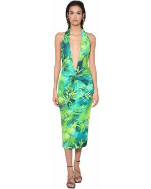 Платье миди с V-образным вырезом из вискозы Versace