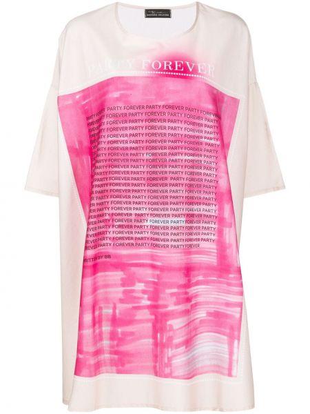 Хлопковая розовая футболка свободного кроя с круглым вырезом Barbara Bologna