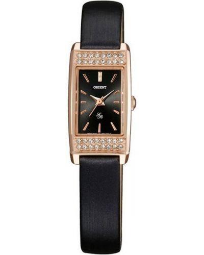 Водонепроницаемые часы черные на кожаном ремешке Orient