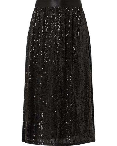 Czarna spódnica midi rozkloszowana z cekinami Esprit Collection