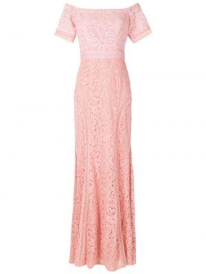 Кружевное с рукавами розовое вечернее платье Martha Medeiros