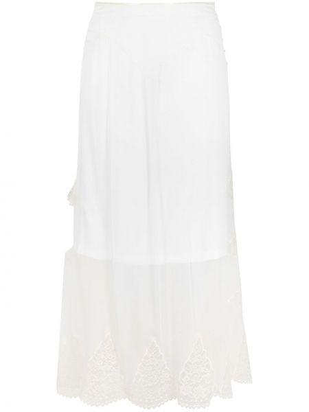 Jedwab koronkowa spódnica midi z haftem Paco Rabanne