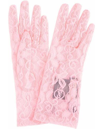 Тонкие розовые перчатки Gucci