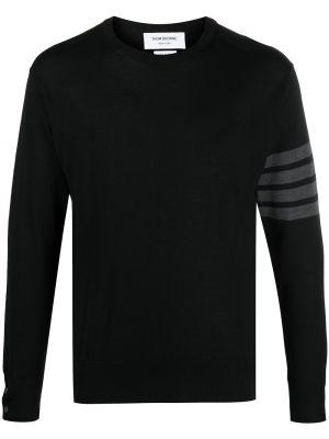 Из мериноса черный пуловер с нашивками Thom Browne