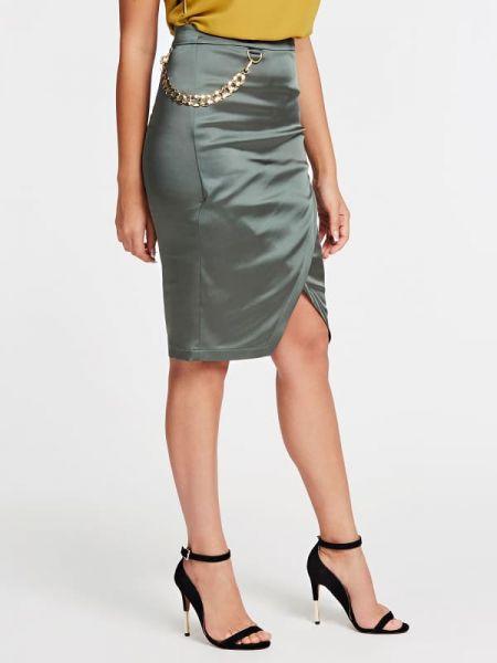 Zielona spódnica ołówkowa z jedwabiu Guess