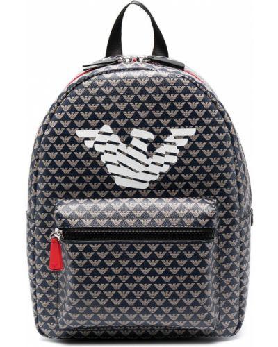 С ремешком синий кожаный рюкзак Emporio Armani Kids