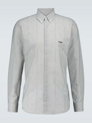 Koszula bawełniana w paski z haftem Fendi