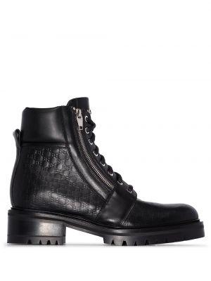 Кожаные черные ботинки милитари на шнуровке Balmain