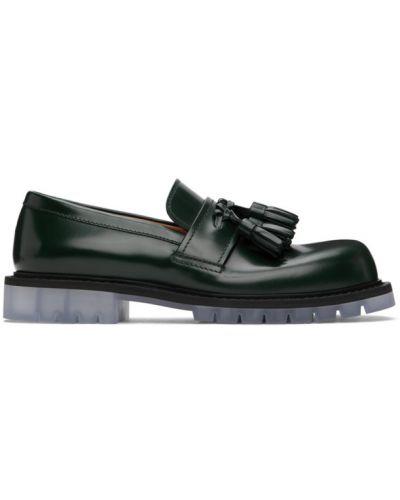 Czarny skórzany loafers okrągły nos przezroczysty Bottega Veneta