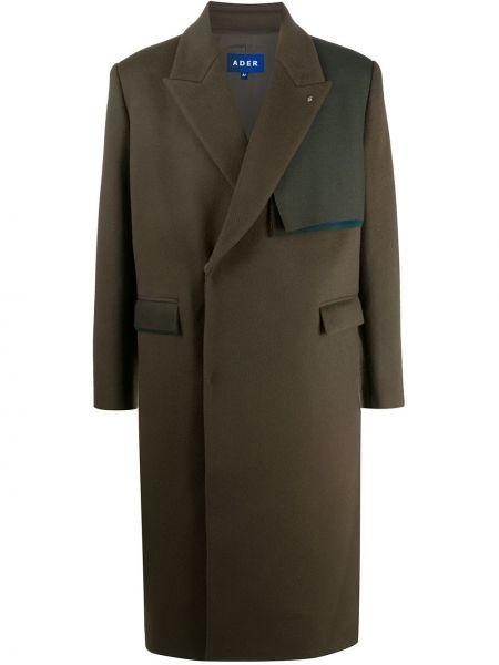 Brązowy wełniany płaszcz dwurzędowy z kieszeniami Ader Error