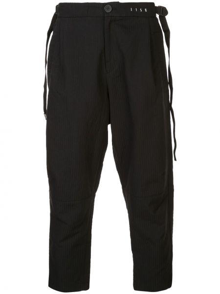Czarne spodnie w paski bawełniane Iise