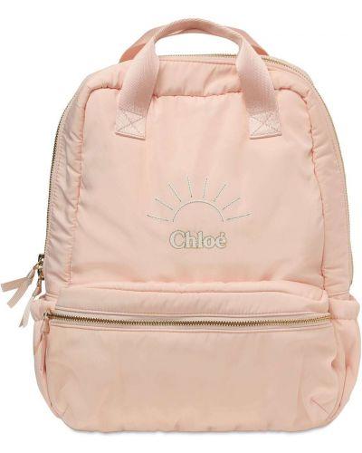 Różowy plecak na laptopa z haftem Chloe